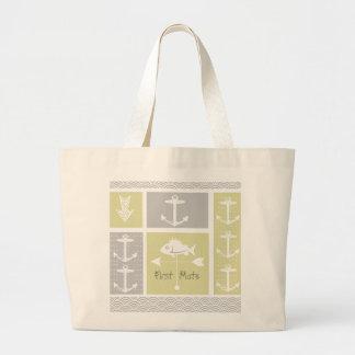 Nautical Yellow and Gray Anchor Fish Weather Vane Jumbo Tote Bag