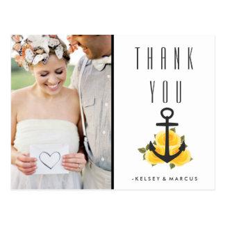 Nautical Yellow Rose Wedding Thank You Postcard