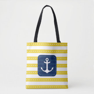 Nautical Yellow Stripes Navy Blue Banner Anchor Tote Bag