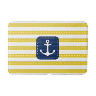 Nautical Yellow Stripes Navy Blue Banner Anchor Bath Mats