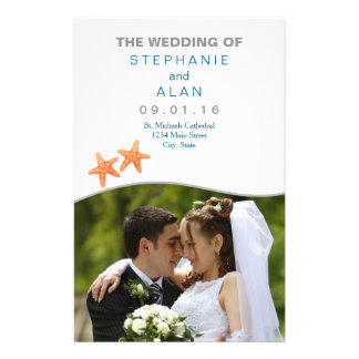 Nautically Starfish Photo Wedding Programs Flyer