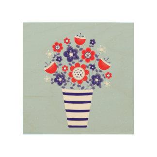 nauticle flowers in vase wood wall art