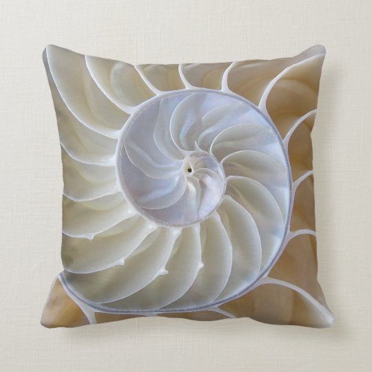 Nautilus Sea Shell Custom Colour Throw Pillow