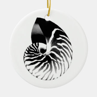 Nautilus shell - black, grey and white christmas ornaments