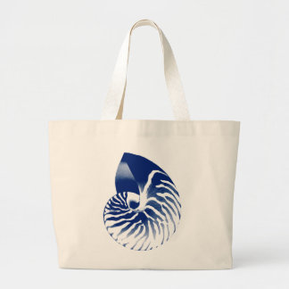 Nautilus shell - navy blue and white canvas bags