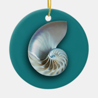 Nautilus shell on teal christmas ornament