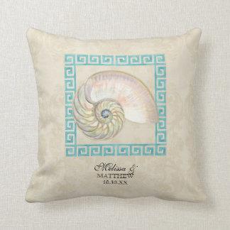 Nautilus Shell Watercolor Greek Key Damask Beach Cushion