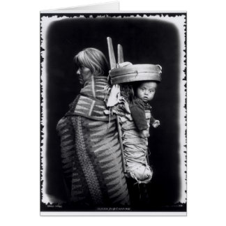 Navaho woman carrying a papoose on her back greeting card