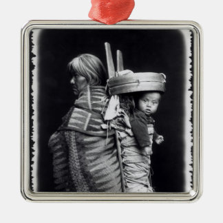 Navaho woman carrying a papoose on her back Silver-Colored square decoration