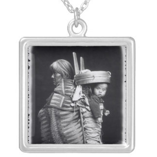 Navaho woman carrying a papoose on her back silver plated necklace