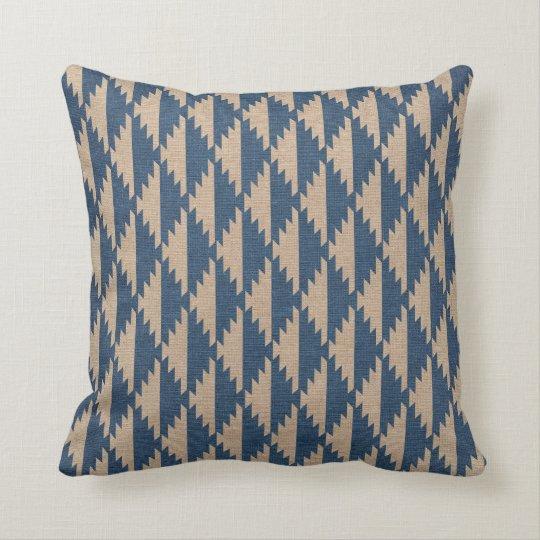 Navajo Diamond Pattern Denim Blue Cushion