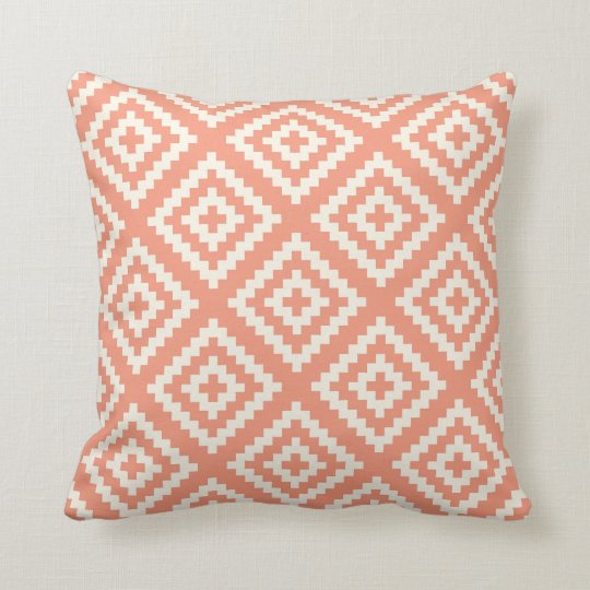 Navajo Gemetric Pattern Peach and Cream Throw Pillow