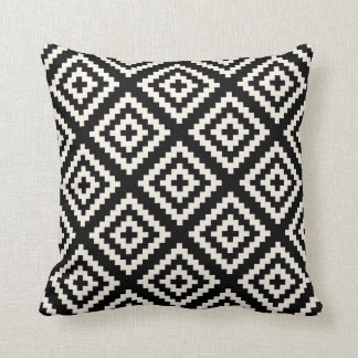Navajo Geometric Black and Cream Pattern Cushion