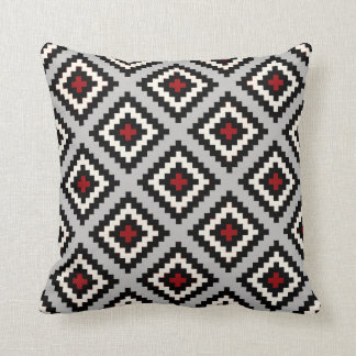 Navajo Geometric in Grey Black Red Cushion