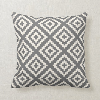 Navajo Geometric Pattern in Grey and Cream Cushion