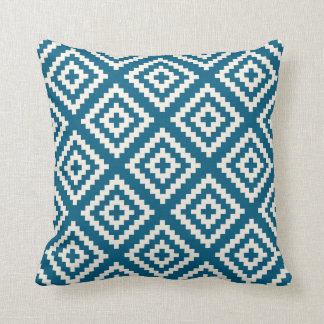 Navajo Geometric Pattern in Teal Blue Cushion