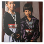 Navajo Girls in Front of Flag Tile