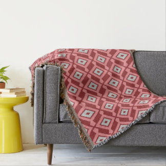 Navajo Ikat Pattern - Burgundy, Grey and Coral Throw Blanket