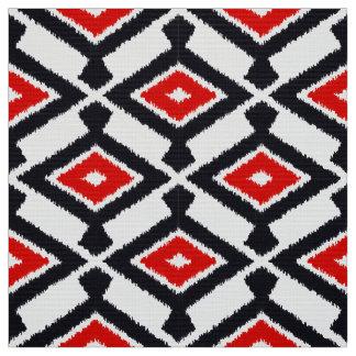 Navajo Ikat Pattern - Dark Red, Black and White Fabric