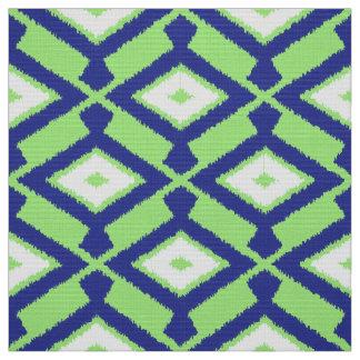 Navajo Ikat Pattern - Green, Indigo Blue and White Fabric