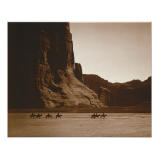 Navajo Riders in Canyon, 1904. Vintage Photo Poster
