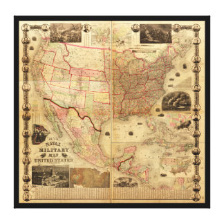Naval and Military Map of the United States (1862) Canvas Prints