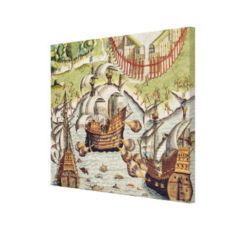 Naval Battle between the Portuguese and French Canvas Print