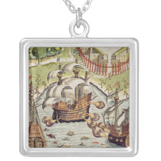 Naval Battle between the Portuguese and French Silver Plated Necklace