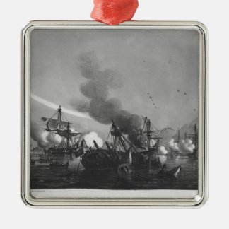Naval battle of Grand Port, Mauritius, in 1810 Silver-Colored Square Decoration