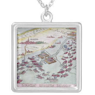 Naval Combat off the Coast of The Hague Silver Plated Necklace