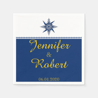 Naval Compass Rose in Navy and Yellow Wedding Paper Napkins