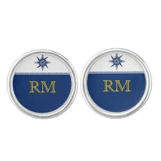 Naval Compass Rose on Navy Blue Wedding Cuff Links Cufflinks