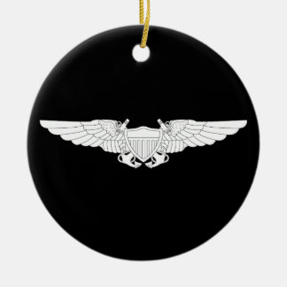 Naval Flight Officer Wings (NFO) - White Round Ceramic Decoration