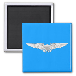 Naval Flight Officer Wings - Silver Square Magnet