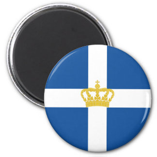 Naval Jack Of Kingdom Of Greece, Greece 6 Cm Round Magnet