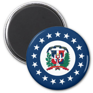 Naval Jack Of The Dominican Republic, Dominican Re 6 Cm Round Magnet