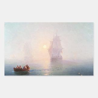 Naval Ship Ivan Aivazovsky seascape waterscape sea Rectangular Sticker