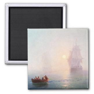 Naval Ship Ivan Aivazovsky seascape waterscape sea Square Magnet