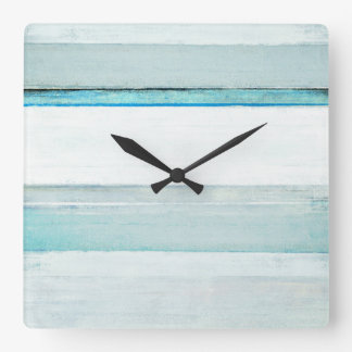 'Navigate' Blue Abstract Art Square Wall Clock