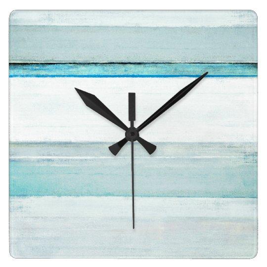 'Navigate' Blue Abstract Art Square Wall Clock