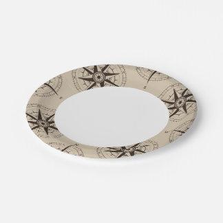 Navigation Compass Pattern 7 Inch Paper Plate