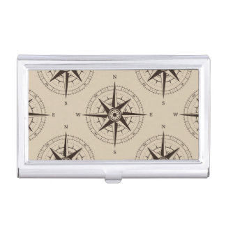 Navigation Compass Pattern Business Card Holder