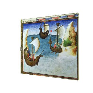 Navigators using an astrolabe canvas print
