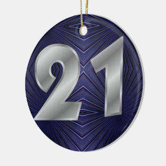 Navy Abstract Pattern Christmas Ornament