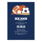 Navy All Star Sports Themed Birthday Party Card