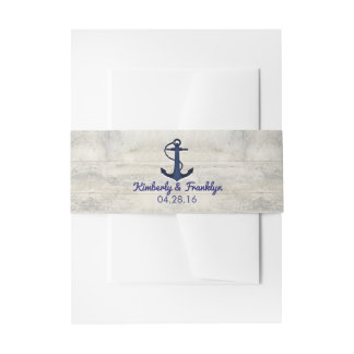 Navy Anchor and Driftwood Beach Wedding Invitation Belly Band