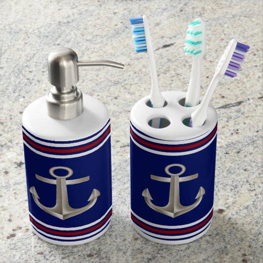 Navy Anchor Bath Set