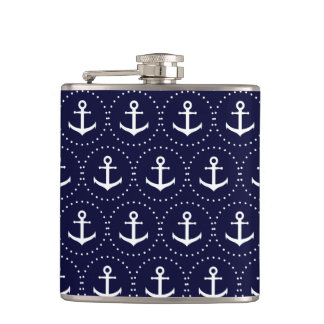 Navy anchor circle pattern flasks