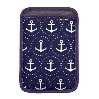 Navy anchor circle pattern iPad mini sleeve
