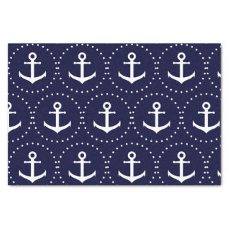 Navy anchor circle pattern tissue paper